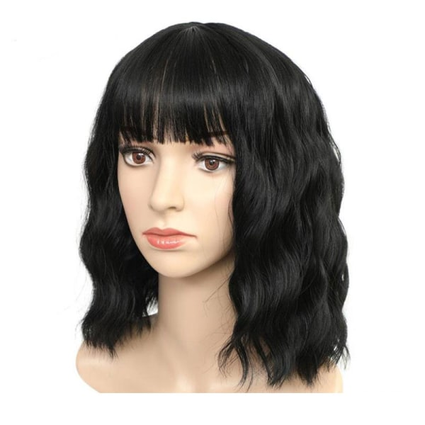Women wine red wig Fiber Short Curly Synthetic Wigs with Bangs  Black
