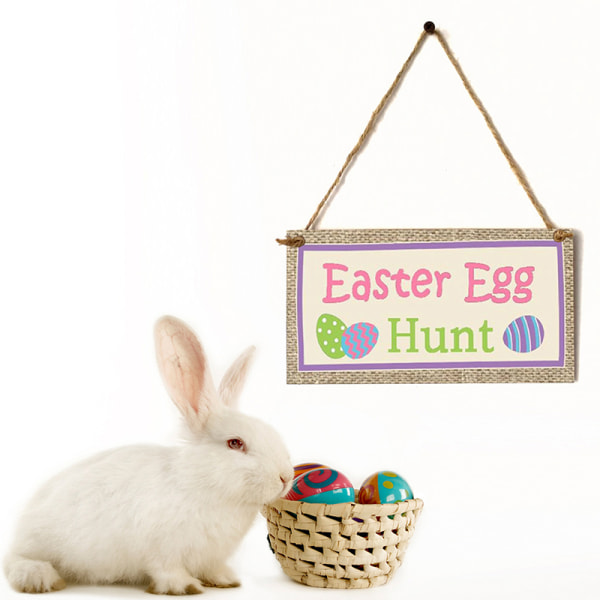 Wooden Easter Decoration Easter Bunny Egg Door Ornaments Rabbit A