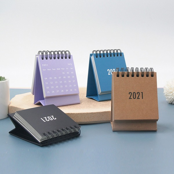 2021 Mini Desk Calendar DIY Portable Desk Calendars Daily Schedu Purple