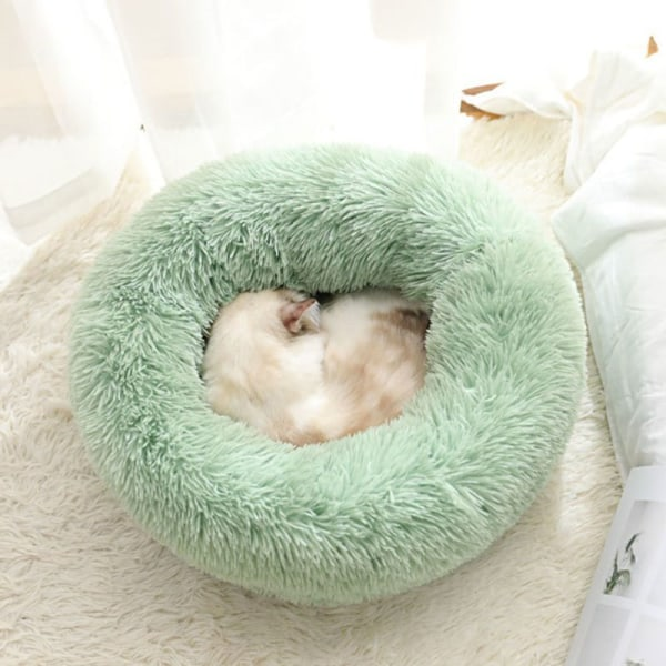 Comfy Calming Dog/Cat Bed Round Super Soft Plush Pet Bed Marshma Light gray S