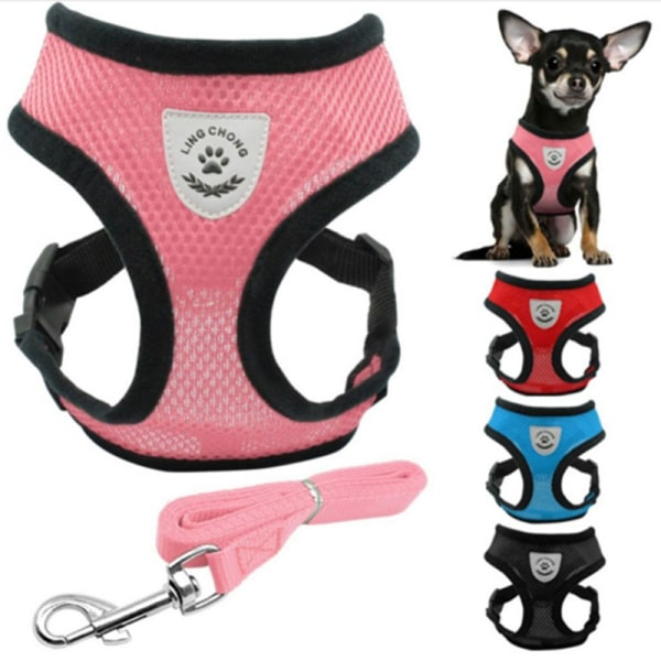Dog Pet Adjustable Harness and Leash Set pet harness straps For S blue