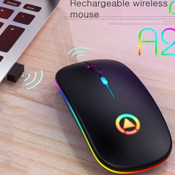 Wireless Mouse Rechargeable Silent LED Backlit Portable Mouse W B