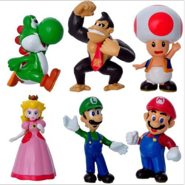 6 Pack Super Mario  Figurer julklappar