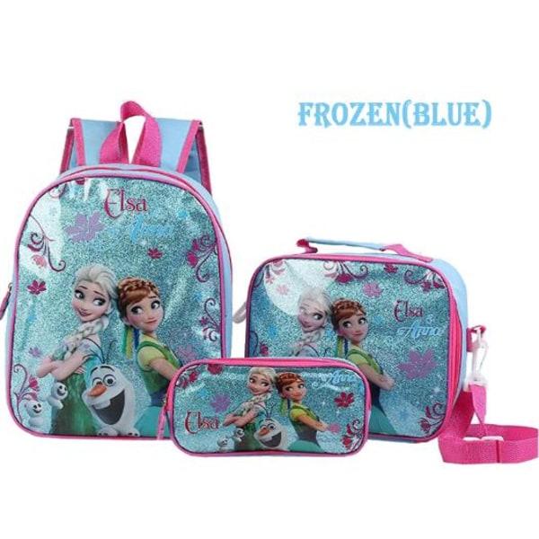 Blå- Frozen Ryggsäck Skolväska 3 Pack födelsedagspresent Blå
