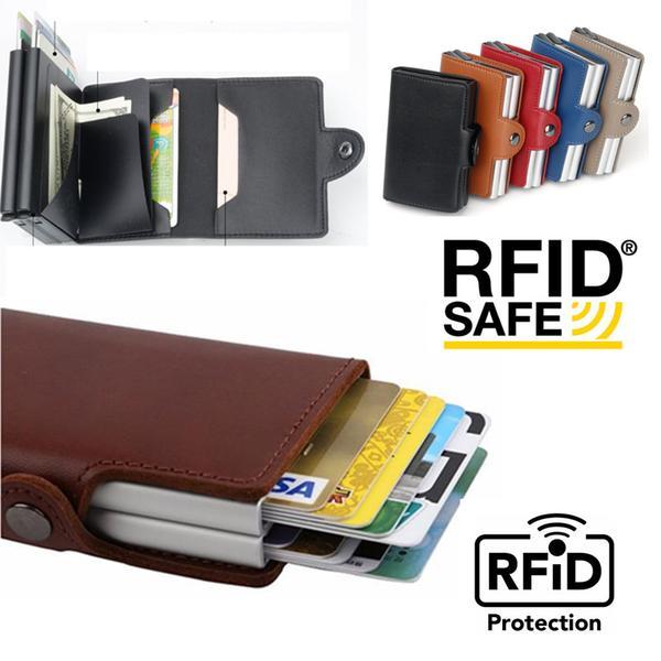Dubbel Stöldskydds Plånbok RFID-NFC Säker POP UP Kortshållare Brown Coffee Brun
