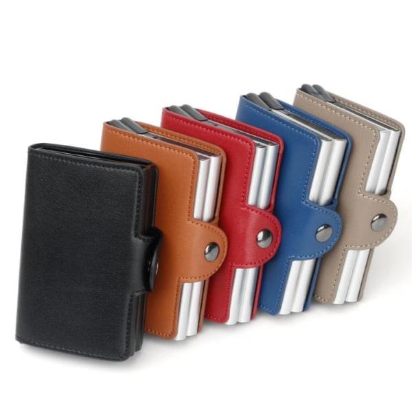 Dubbel Stöldskydds Plånbok RFID-NFC Säker POP UP Kortshållare Black Svart - 12st Kort