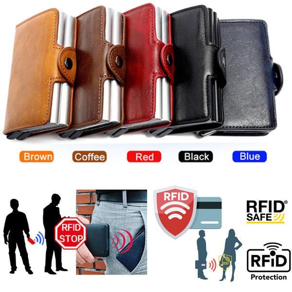 Kortfodral Stöldskydds med signalblockering RFID- Läder 5 Färger Brown Coffe PU Läder 12 kort