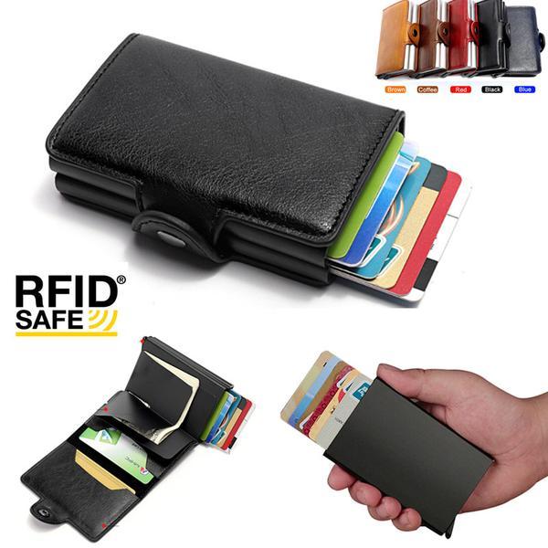 Kortfodral Stöldskydds med signalblockering RFID- Läder 5 Färger Brown Brun PU Läder 12 kort