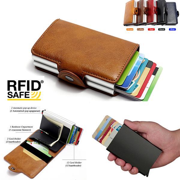 Kortfodral Stöldskydds med signalblockering RFID- Läder 5 Färger Red Röd PU Läder 12 kort