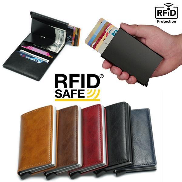 PopUp Smart korthållare skjuter Fram 8st Kort RFID-NFC Säker Black Svart Utan Knapp