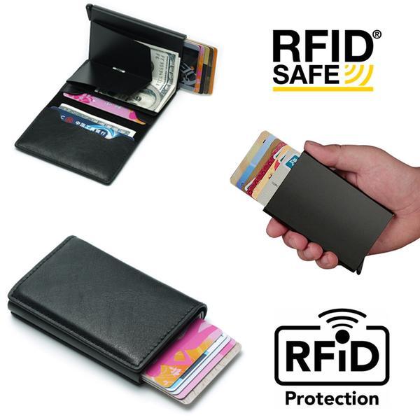 PopUp Smart korthållare skjuter Fram 8st Kort -RFID-NFC Säker Svart