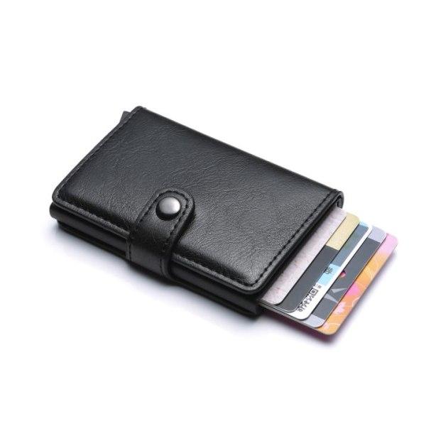 Smart RFID Skydd Plånbok Korthållare 5st Kort Äkta Läder 5färger Blå Mörkblå-Modell med knapp