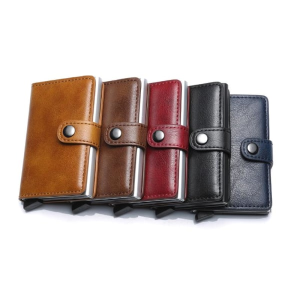 Smart RFID Skydd Plånbok Korthållare 5st Kort Äkta Läder 5färger Brun Brun-Modell med knapp