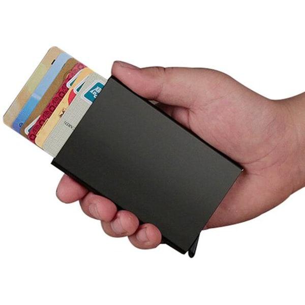 Smart RFID Skydd Plånbok Korthållare 5st Kort Äkta Läder 5färger Gul Gul-Modell med knapp