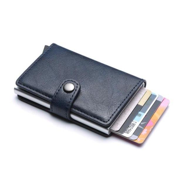 Smart RFID Skydd Plånbok Korthållare 5st Kort Äkta Läder 5färger Röd Röd-Modell med knapp