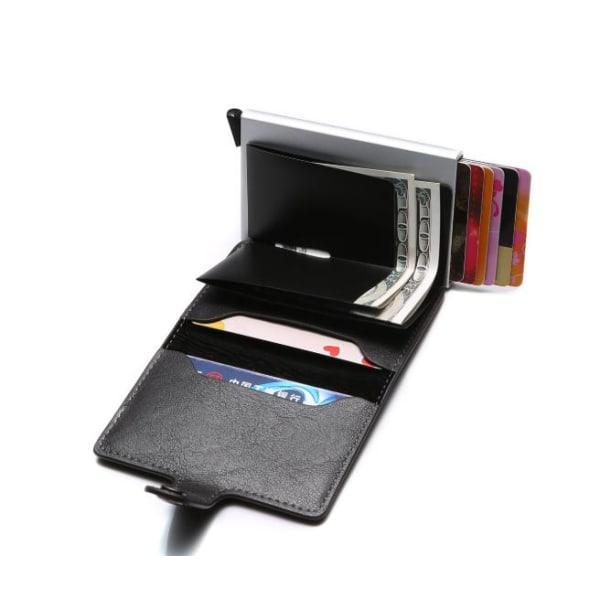 Svart-RFID NFC Skydd Plånbok Korthållare 5st Kort (Äkta Läder) Svart