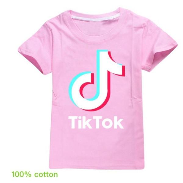 Tik Tok T- Shirt Kortärmad -Rosa Storlek 140
