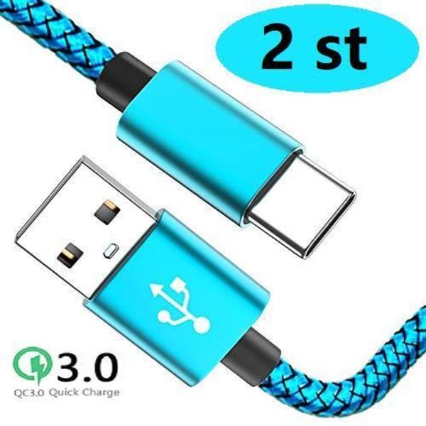 2 st 2 m färgade  usb-c supporta Q.C 3.0 ljusblå