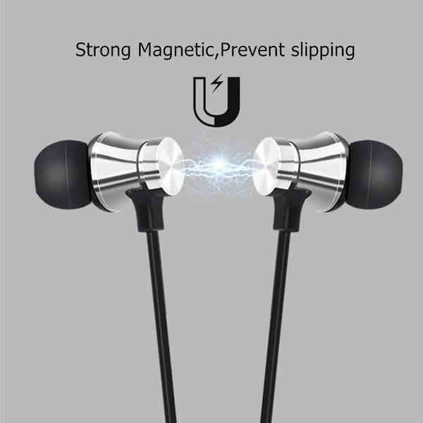 Magnetiska trådlösa  Stereo Sport Vattentäta hörlurar Silver
