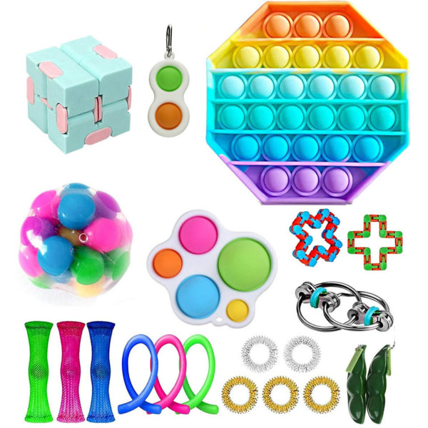 Fidget Toys Pack Sensory Pop it Stress Ball Party Gift multicolor 21
