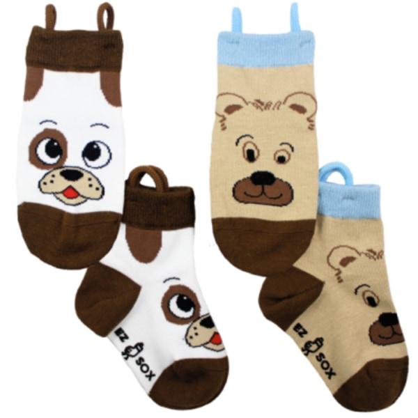 Barnstrumpor med halkskydd - hund & björn 2-pack (30-34)