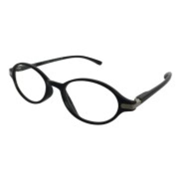 Läsglasögon ovala svarta med silverdetalj +1,00