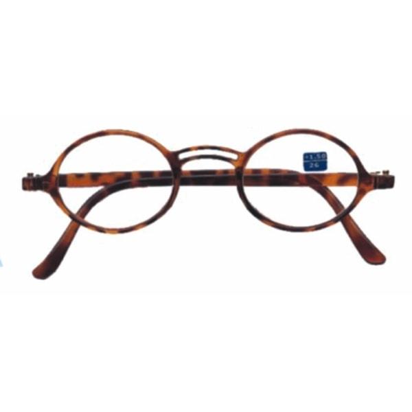 Läsglasögon runda bruna +1,00  brun