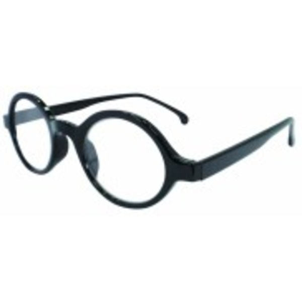 Runda svarta läsglasögon +1,00
