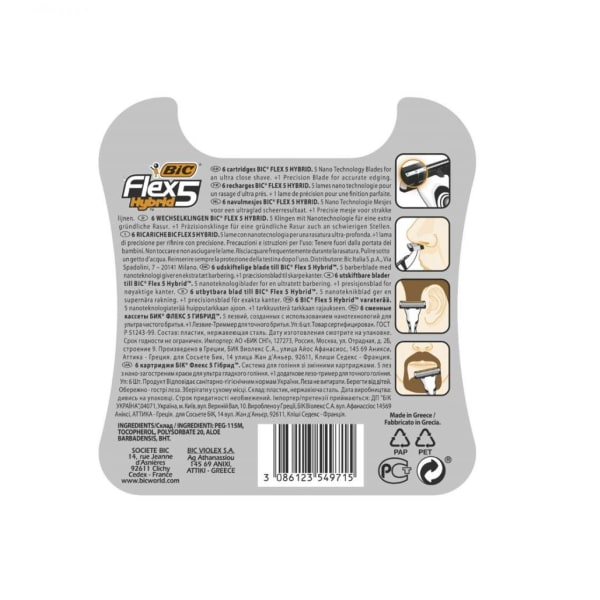 Bic Flex 5 Hybrid Rakblad 6-pack Extra Blad Svart one size