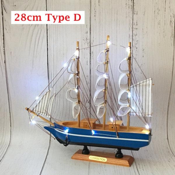 LED Wood Craft Sailor Ship segelbåt Trä handgjord modell