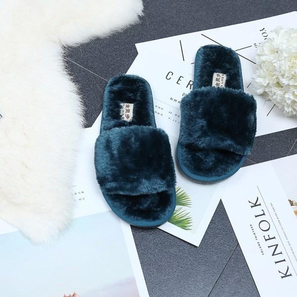 Kvinnor päls Fuzzy tofflor öppen tå platta skor