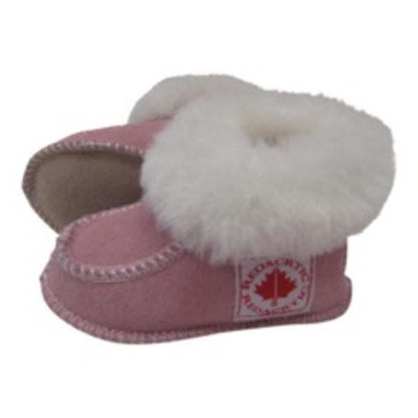 Fårskinnstofflor med lädersula rosa AXELDA Barn 19