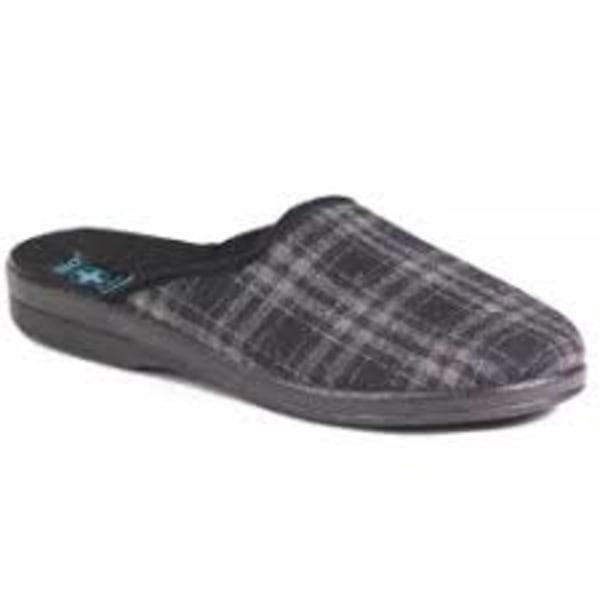 Filt innetofflor toffel slippers KLASSISK grå rutig 43