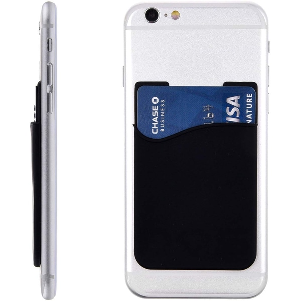 2-pack Universal Mobil plånbok/korthållare - Självhäftande svart