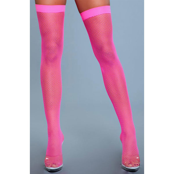 BeWicked Nylon Fishnet Thigh Highs Neon Pink One Size one size