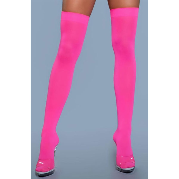 BeWicked Thigh High Nylon Stockings Neon Pink One Size one size