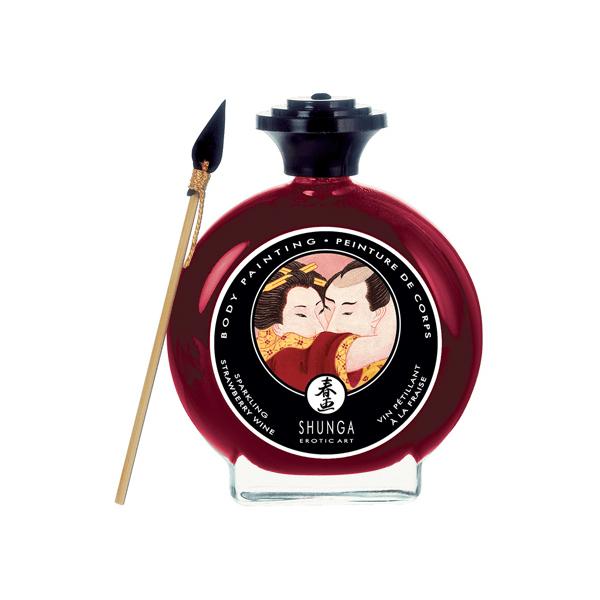 Shunga Erotic Art Bodypaint Champagne Strawberry 100ml Kroppsfär