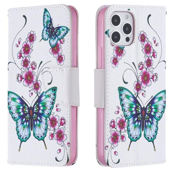 Plånboksfodral iPhone 12 Pro Max – Fjärilar och Blommor