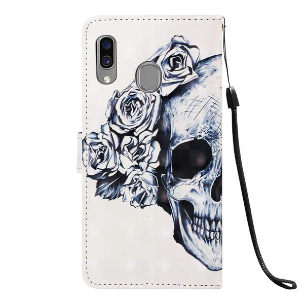 Plånboksfodral Samsung Galaxy A20e – Döskalle / Rosor
