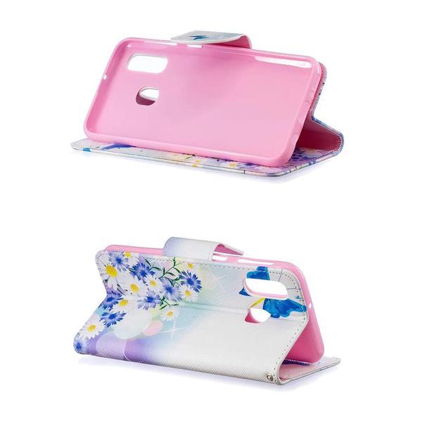 Plånboksfodral Samsung Galaxy A20e – Fjärilar och Blommor