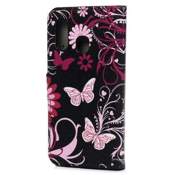 Plånboksfodral Samsung Galaxy A20e - Svart med Fjärilar