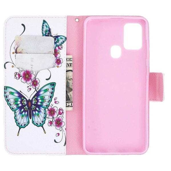 Plånboksfodral Samsung Galaxy A21s – Fjärilar och Blommor