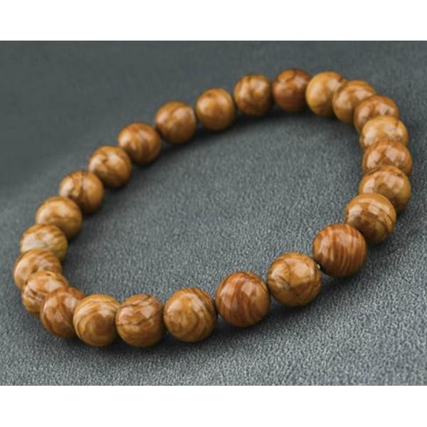 Armband med 8,4 mm ljusbruna stenkulor