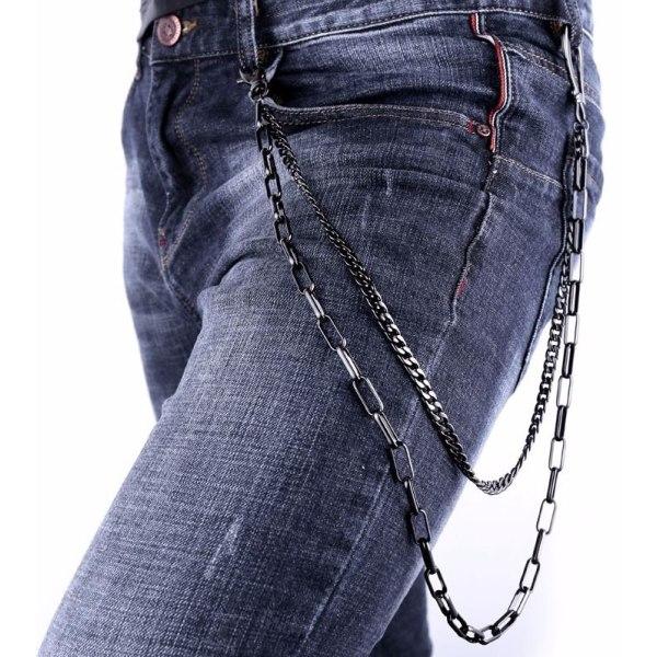 U7 Tung Jeans kedjor Punk Rock Svart Gunmetall
