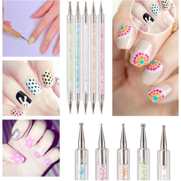 5st olika - Marbleizing dotting nail art penna