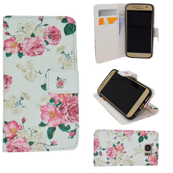 Fodral / Plånbok i Läder - Samsung Galaxy S6 - Blommor