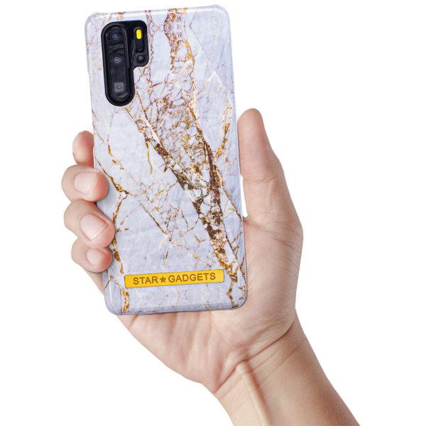 Huawei P30 Pro - Skal / Skydd / Blommor / Marmor Svart