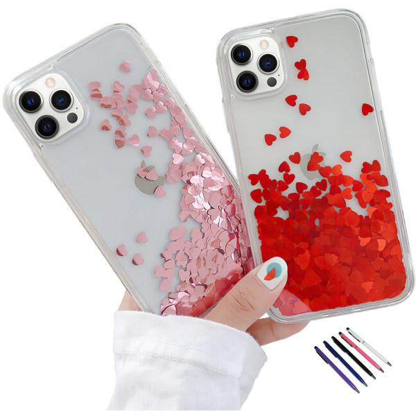 iPhone 12 Pro - Flytande Glitter 3D Bling Skal Case Röd