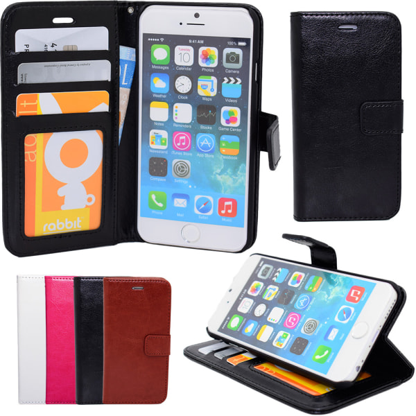 iPhone 6 / 6S - Plånboksfodral i läder + Skärmskydd Svart