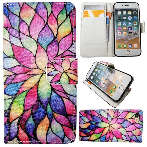 """iPhone 7/8 - Plånboksfodral - """"Färgglad Blomma"""""""